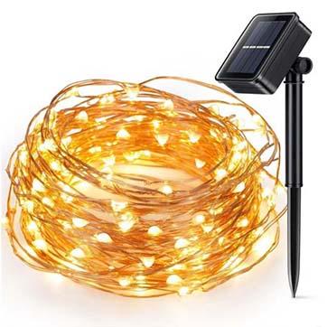 luz de cadena de alambre de cobre de energía solar